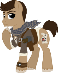 Size: 600x761 | Tagged: safe, artist:tambelon, cutie mark, gun, map, nathan drake, necklace, ponified, ring, scarf, solo, uncharted, vector, watch, weapon