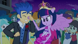 Size: 1920x1080 | Tagged: safe, screencap, blueberry cake, captain planet, curly winds, flash sentry, golden hazel, indigo wreath, nolan north, paisley, scott green, some blue guy, sophisticata, sweet leaf, teddy t. touchdown, twilight sparkle, valhallen, equestria girls, equestria girls (movie), big crown thingy, crown, fall formal outfits, female, flashlight, jewelry, male, ponied up, regalia, shipping, smiling, straight, twilight ball dress, wings