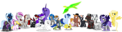 Size: 4754x1274 | Tagged: safe, artist:vector-brony, oc, oc only, oc:blackjack, oc:boo, oc:calamity, oc:hired gun, oc:homage, oc:ice dice, oc:lacunae, oc:littlepip, oc:morning glory (project horizons), oc:p-21, oc:psychoshy, oc:puppysmiles, oc:rampage, oc:scotch tape, oc:serenity (fallout equestria: heroes), oc:steelhooves, oc:stygius, oc:velvet remedy, oc:xenith, alicorn, balefire phoenix, bat pony, cyborg, earth pony, pegasus, phoenix, pony, unicorn, zebra, fallout equestria, fallout equestria: heroes, fallout equestria: pink eyes, fallout equestria: project horizons, applejack's rangers, armor, artificial alicorn, barbed wire, bat pony oc, bat wings, clothes, cowboy hat, cutie mark, cyber legs, dashite, fanfic, fanfic art, fangs, female, filly, flying, foal, group, gun, hat, hazmat suit, hooves, horn, male, mare, minigun, open mouth, pipbuck, power armor, purple alicorn (fo:e), raised hoof, rocket launcher, saddle bag, simple background, spread wings, stallion, steel ranger, transparent background, vault suit, vector, weapon, wings