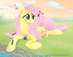 Size: 1008x792 | Tagged: safe, artist:raynesgem, fluttershy, pegasus, pikmin, pony, blue pikmin, crossover, female, lying, mare, pikmin (series), prone, purple pikmin, red pikmin, rock pikmin, smiling, white pikmin, winged pikmin, yellow pikmin