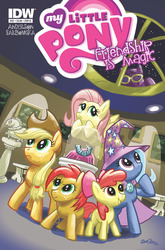 Size: 843x1280   Tagged: safe, artist:zander cannon, idw, apple bloom, applejack, babs seed, fluttershy, rough diamond, trixie, spoiler:comic22, burglar, comic, cover, goggles, mask
