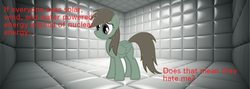 Size: 560x200 | Tagged: safe, oc, oc only, oc:thorium hooves, original species, element pony, padded cell, recolor, sad, solo