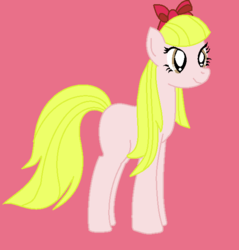 Size: 570x597 | Tagged: safe, artist:berrypunchrules, paula grindhouse, earth pony, pony, background human, blank flank, bow, equestria girls ponified, female, mare, ponified, ribbon, solo