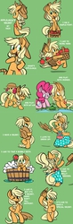 Size: 1280x3912   Tagged: dead source, safe, artist:fauxsquared, apple bloom, applejack, pinkie pie, earth pony, frog, pony, accessory swap, apple, apple bloom riding applejack, applejewel, bath, bipedal, bubble bath, bucket, carrying, clothes, comic, cowboy hat, cute, dress, female, frog inspector applejack, get, hat, hoof hold, index get, jackabetes, looking at you, looking back, mare, open mouth, ponies riding ponies, riding, secret, silly, silly pony, smiling, watching, wet mane, wink