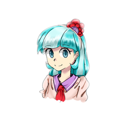 Size: 1200x1150 | Tagged: safe, artist:luciferamon, coco pommel, human, bust, cocobetes, colored pupils, cute, female, humanized, looking at you, portrait, simple background, smiling, solo, white background