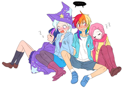 Size: 1120x807 | Tagged: safe, artist:megarexetera, fluttershy, rainbow dash, trixie, twilight sparkle, human, blushing, cape, clothes, eyes closed, female, flutterdash, hat, humanized, inconvenient twilight, lesbian, onomatopoeia, open mouth, shipping, simple background, sleeping, sound effects, sweat, trixie's cape, trixie's hat, tsunderainbow, tsundere, tsunderixie, twixie, white background, z, zzz