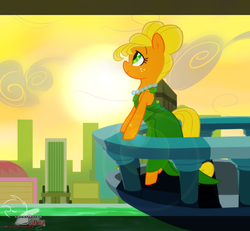 Size: 1300x1200   Tagged: safe, artist:great9star, applejack, pony, alternate hairstyle, alternate universe, balcony, bipedal, bipedal leaning, city, clothes, commission, dress, lens flare, manehattan, necklace, orangejack, solo, sunset