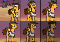 Size: 1024x717 | Tagged: dead source, safe, artist:jollyjoltik, boneless, boneless 2, cheese sandwich, oc, after party, anon pony, clothes, crying, depressed, feels, hat, lonely, poncho, sad, sigh