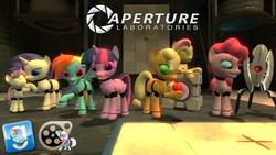 Size: 1920x1080 | Tagged: safe, applejack, fluttershy, pinkie pie, rainbow dash, rarity, twilight sparkle, alicorn, pony, robot, 3d, aperture science, applebot, female, flutterbot, gmod, mane six, mare, pinkie bot, portal (valve), rainbot dash, raribot, source filmmaker, sweetie bot, turret, twibot, twilight sparkle (alicorn)