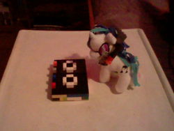 Size: 640x480 | Tagged: safe, dj pon-3, vinyl scratch, dj player, funrise, irl, lego, photo, plushie