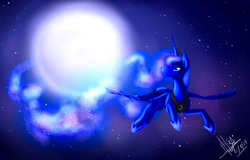 Size: 2217x1423 | Tagged: safe, artist:balck-angel, princess luna, alicorn, pony, crown, ethereal mane, female, flying, full moon, jewelry, looking back, mare, moon, night, night sky, regalia, signature, sky, solo, spread wings, starry mane, starry night, stars, wings