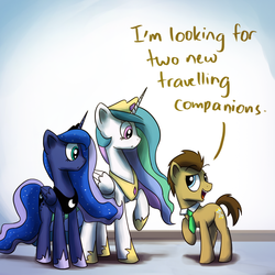 Size: 1200x1200   Tagged: safe, artist:anticular, doctor whooves, princess celestia, princess luna, time turner, alicorn, earth pony, pony, ask sunshine and moonbeams, doctor who, female, male, mare, peytral, stallion, tumblr