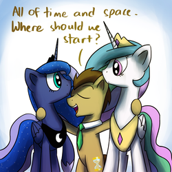 Size: 1200x1200   Tagged: safe, artist:anticular, doctor whooves, princess celestia, princess luna, time turner, alicorn, earth pony, pony, ask sunshine and moonbeams, eye contact, female, hug, looking at each other, male, mare, necktie, peytral, stallion, tumblr