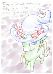 Size: 572x800 | Tagged: safe, artist:taritoons, oc, oc only, oc:buttercheese, hat, solo