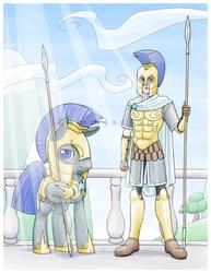 Size: 696x900 | Tagged: safe, artist:taritoons, oc, oc only, oc:steadfast, human, armor, balcony, cape, clothes, human ponidox, humanized, royal guard, self ponidox, spear