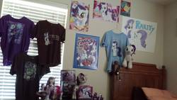 Size: 4128x2322 | Tagged: safe, rarity, equestria girls, aurora, brushable, build-a-bear, clothes, collection, doll, funko, funrise, irl, lunchbox, merchandise, much rarity, photo, plushie, poster, t-shirts, toy, vinyl figure