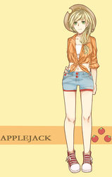 Size: 1863x2935 | Tagged: safe, artist:bc neko, applejack, human, belly button, clothes, front knot midriff, humanized, midriff, pixiv, shorts, solo