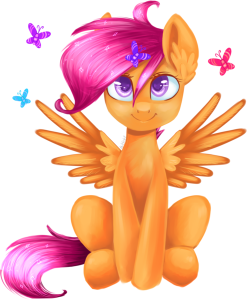 Size: 1024x1244 | Tagged: artist:voilet14, butterfly, safe, scootaloo, solo