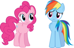 Size: 12557x8159   Tagged: safe, artist:djdavid98, artist:intbrony, pinkie pie, rainbow dash, pony, twilight's kingdom, .ai available, .svg available, absurd resolution, confused, frown, group, simple background, transparent background, vector, worried