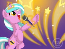 Size: 638x488 | Tagged: safe, artist:nanook123, oc, oc only, oc:mane event, pony, unicorn, bronycon, badge, bronycon mascots, con badge, microphone, solo
