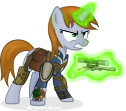 Size: 4409x3882 | Tagged: safe, artist:vector-brony, oc, oc only, oc:littlepip, pony, unicorn, fallout equestria, clothes, cutie mark, fallout, fanfic, fanfic art, female, glowing horn, gritted teeth, gun, handgun, holster, hooves, horn, levitation, little macintosh, magic, mare, optical sight, pipbuck, revolver, saddle bag, simple background, solo, teeth, telekinesis, transparent background, vault suit, vector, weapon