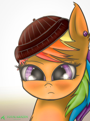 Size: 1200x1617 | Tagged: artist:allyster-black, beanie, blushing, bust, cute, dead source, dyed mane, ear fluff, ear piercing, earring, eyelashes, fluffy, frown, hat, looking at you, piercing, portrait, rainbow hair, rebellious teen, safe, scootaloo, solo