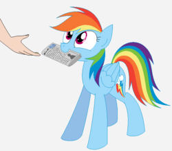 Size: 613x540 | Tagged: safe, artist:hyolark, rainbow dash, human, pegasus, pony, behaving like a dog, cute, dashabetes, hand, happy, legitimately amazing mspaint, looking up, mouth hold, ms paint, newspaper, pony pet, simple background, smiling