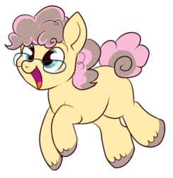 Size: 422x433 | Tagged: safe, artist:lulubell, oc, oc only, oc:party popper, curly hair, cute, foal, glasses, next generation, offspring, parent:cheese sandwich, parent:pinkie pie, parents:cheesepie, simple background, solo, transparent background, unshorn fetlocks