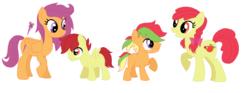 Size: 1184x440 | Tagged: safe, artist:unoriginai, apple bloom, scootaloo, oc, oc:dusty, oc:zapple, cute, female, lesbian, magical lesbian spawn, offspring, older, parent:apple bloom, parent:scootaloo, parents:scootabloom, scootabloom, simple background, transparent background, twins