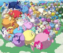 Size: 6000x5000 | Tagged: safe, artist:anonopony, allie way, aloe, amethyst star, apple bloom, applejack, babs seed, beauty brass, berry punch, berryshine, big macintosh, blossomforth, blues, bon bon, braeburn, candy mane, caramel, carrot cake, carrot top, cheerilee, cherry jubilee, chickadee, cloud kicker, cloudchaser, coco pommel, cup cake, daisy, daring do, derpy hooves, diamond tiara, dinky hooves, dj pon-3, doctor whooves, donut joe, elsie, fancypants, featherweight, fleetfoot, fleur-de-lis, flitter, flower wishes, fluttershy, golden harvest, goldengrape, hoity toity, lemon hearts, lightning bolt, lightning dust, lily, lily valley, linky, lotus blossom, lyra heartstrings, mayor mare, minuette, ms. harshwhinny, ms. peachbottom, night light, noteworthy, nurse coldheart, nurse redheart, nurse sweetheart, octavia melody, photo finish, pinkie pie, pokey pierce, pound cake, powder rouge, pretty vision, prince blueblood, princess cadance, princess celestia, princess luna, pumpkin cake, rainbow dash, rainbowshine, rarity, raven, roseluck, ruby pinch, rumble, sapphire shores, savoir fare, scootaloo, screw loose, screwball, sea swirl, seafoam, shining armor, shoeshine, silver spoon, silverspeed, sir colton vines iii, snails, snips, soarin', soigne folio, sparkler, spitfire, stella lashes, sunshower raindrops, suri polomare, sweetie belle, sweetie drops, tag-a-long, thunderlane, time turner, trixie, truffle shuffle, twilight sparkle, twilight velvet, twinkleshine, twist, vinyl scratch, white lightning, zecora, alicorn, pegasus, pony, zebra, 99 luftballons, :t, absurd resolution, balloon, bon bon is not amused, cutie mark crusaders, elise, everypony, female, frown, horte cuisine, inflation, mane six, mare, open mouth, royal guard, silly, sindy, smiling, twilight sparkle (alicorn), wall of tags