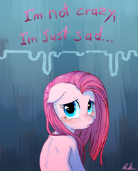 Size: 645x797 | Tagged: safe, artist:c-puff, pinkie pie, pony, crying, dialogue, female, floppy ears, looking at you, looking back, looking back at you, mare, pinkamena diane pie, sad, solo, talking to viewer