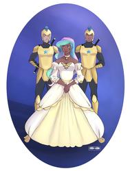 Size: 768x1014   Tagged: safe, artist:demdoodles, princess celestia, human, armor, clothes, dark skin, dress, guard, humanized, royal guard