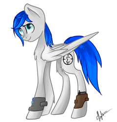 Size: 1024x1073   Tagged: safe, artist:icebergi, oc, oc only, oc:sapphire sights, fallout equestria, gun, holster, pipbuck, solo