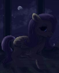 Size: 872x1070   Tagged: safe, artist:krooku, fluttershy, moon, night, solo