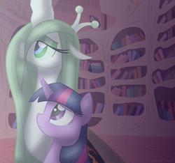 Size: 910x851   Tagged: safe, artist:faith-wolff, twilight sparkle, alicorn, changeling, changeling queen, fanfic:the bridge, changelingified, colored sclera, crossover, duo, duo female, eyeshadow, fanfic art, female, godzilla (series), golden oaks library, green sclera, kaiju changeling, makeup, mare, mothra, mothra lea, ponified, twilight sparkle (alicorn)