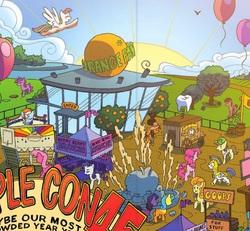 Size: 503x464 | Tagged: safe, artist:tonyfleecs, edit, blossomforth, carrot top, cheerilee, daring do, golden harvest, hayseed turnip truck, junebug, lemon hearts, pinkie pie, rainbow dash, rarity, earth pony, pegasus, pony, unicorn, idw, spoiler:comic, spoiler:comicff9, aladdin sane, applecon, background pony, balloon, cart, comic, convention, cropped, django unchained, dr. king schultz, female, male, mare, orange, pegasus royal guard, royal guard, stallion, tooth, unnamed pony, ziggy stardust