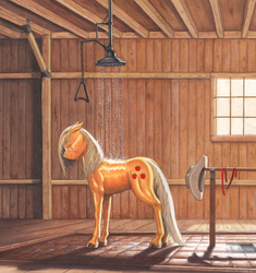 Size: 1077x1148 | Tagged: safe, artist:baron engel, applejack, earth pony, pony, barn, bathing, colored pencil drawing, commission, eyes closed, fanfic, fanfic art, female, floppy ears, gouache, hat, hatless, loose hair, markers, messy mane, missing accessory, mixed media, muscles, pencil drawing, realistic, shower, smiling, solo, traditional art, unshorn fetlocks, wet, wet mane