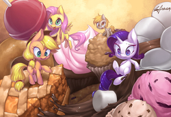 Size: 4000x2736 | Tagged: dead source, safe, artist:jggjqm522, applejack, derpy hooves, fluttershy, rarity, twilight sparkle, pegasus, pony, chibi, cupcake, donut, female, food, ice cream, lollipop, mare, marshmallow, micro, missing cutie mark, muffin, pie, ponies in food, tiny ponies