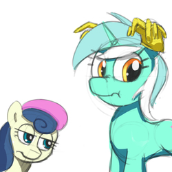 Size: 1000x1000 | Tagged: safe, artist:jayzonsketch, bon bon, lyra heartstrings, sweetie drops, earth pony, pony, unicorn, :t, bon bon is not amused, clothes, cute, female, frown, gloves, horses doing horse things, lidded eyes, looking away, mare, nose wrinkle, scrunchy face, silly, simple background, unamused, white background, wide eyes