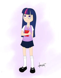 Size: 3500x4450 | Tagged: safe, artist:kris-tuna, twilight sparkle, human, book, clothes, humanized, kneesocks, mary janes, miniskirt, necktie, school uniform, schoolgirl, shirt, skirt, socks, solo, vest