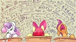 Size: 1920x1080   Tagged: safe, artist:underpable, apple bloom, rarity, scootaloo, sweetie belle, crab, earth pony, giant crab, pony, unicorn, apple, bad wolf, best pony, bored, classroom, cutie mark crusaders, faceplant, fancy mathematics, female, filly, frown, innuendo, leaning, math, moon, nose in the air, open mouth, rarity fighting a giant crab, school, science, sleeping, sleeping in class, sun, tic tac toe, tongue out, triangle, uvula, wall of text, wallpaper