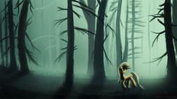 Size: 1920x1080 | Tagged: dead source, safe, artist:fearyzy, applejack, dark, female, fog, forest, glow, looking back, lost, scenery, solo