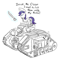 Size: 2900x2900 | Tagged: source needed, safe, artist:ridingengenere, rarity, crossover, drive me closer, sword, tank (vehicle), warhammer (game), warhammer 40k