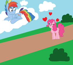 Size: 1581x1401 | Tagged: artist:artistrarity, cloud, cloudy, female, half r63 shipping, heart, male, pinkieblitz, pinkiedash, pinkie pie, rainbow blitz, rainbow dash, rule 63, safe, shipping, straight