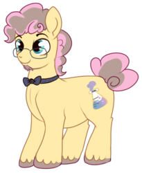 Size: 410x500 | Tagged: safe, artist:lulubell, oc, oc only, oc:party popper, earth pony, pony, bowtie, curly hair, male, next generation, offspring, parent:cheese sandwich, parent:pinkie pie, parents:cheesepie, simple background, solo, transparent background