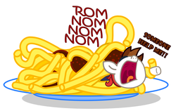 Size: 1120x710   Tagged: safe, artist:changeling #209458, pipsqueak, dialogue, fetish, flying spaghetti monster, hoopla, irony, karma, payback, pipsqueak eating spaghetti, role reversal, simple background, soft vore, spaghetti, spaghetti eating pipsqueak, vore, wat, white background