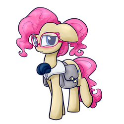 Size: 1200x1200 | Tagged: safe, artist:otterlore, mayor mare, cute, female, glasses, mayorable, non-dyed mayor, pink, pink hair, saddle bag, simple background, solo, white background, younger