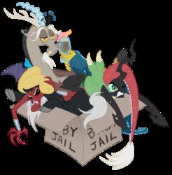 Size: 1500x1525   Tagged: safe, artist:peachiekeenie, artist:tarajenkins, discord, lord tirek, queen chrysalis, angry, box, cardboard box, cute, cutealis, discute, gritted teeth, jail, tirebetes