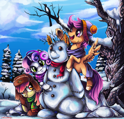 Size: 1419x1360   Tagged: dead source, safe, artist:matrosha123, apple bloom, scootaloo, sweetie belle, clothes, cutie mark crusaders, happy, scarf, snow, snowman, snowpony, unshorn fetlocks, winter, winter outfit