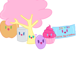 Size: 1600x1200 | Tagged: safe, artist:morganthecat2468, applejack, fluttershy, pinkie pie, rainbow dash, rarity, twilight sparkle, object pony, original species, :d, apple, cupcake, dendrification, egg, egghead, fluttertree, mane six, marshmallow, open mouth, ponified, rarity is a marshmallow, simple background, skittles, smiling, transparent background, tree, wat